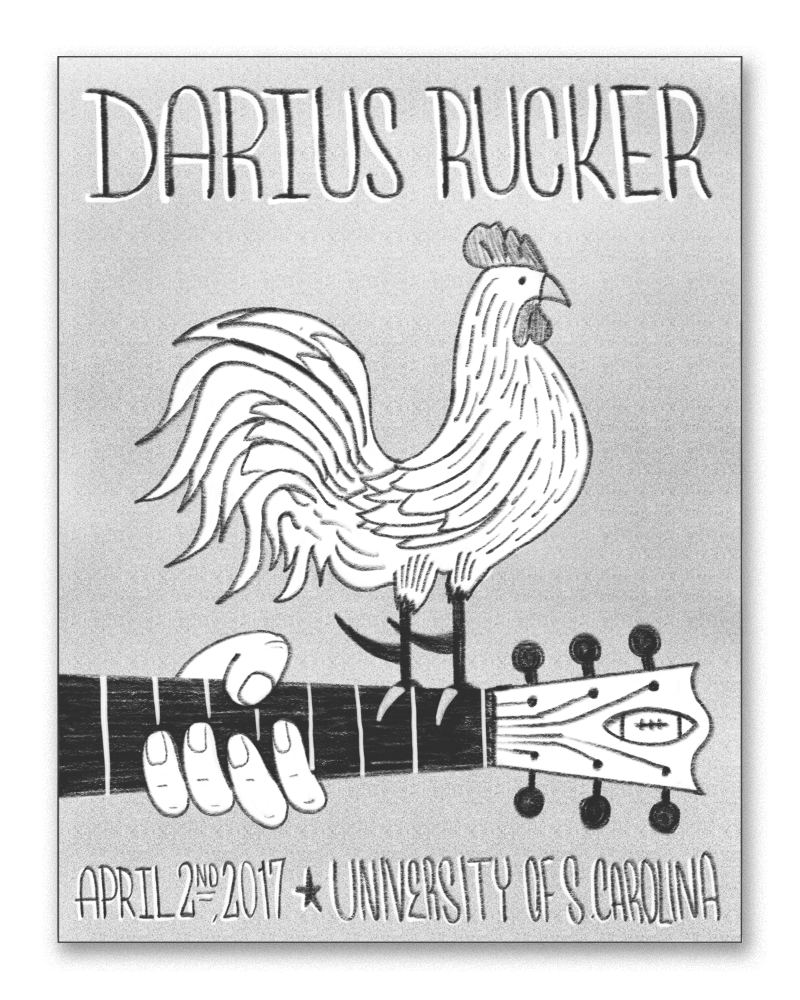 A play on the classic Woodstock poster - Darius's guitar with a proud gamecock perched on top of it.