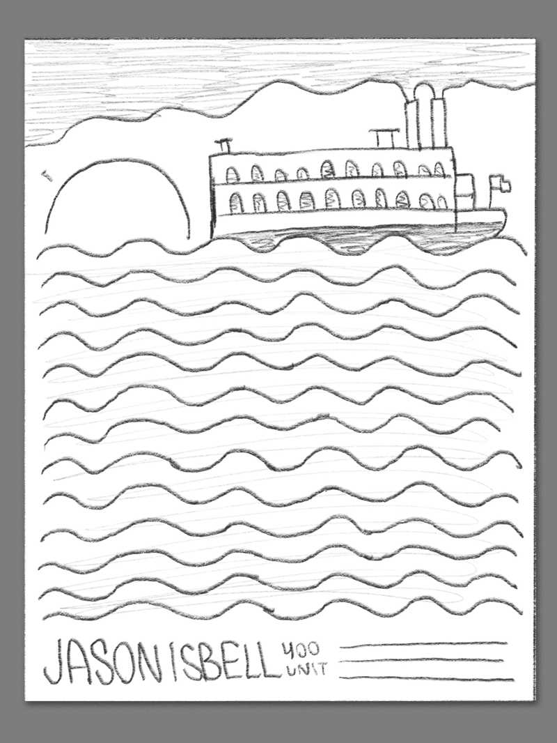 This concept is a little more modern - a very minimal and graphic poster featuring a Tennessee riverboat. Simplicity is key here - a simple illustration of the boat up top - and some abstract lines representing water take up the bulk of the composition. Band name & show info are at the bottom in a really simple and classic type treatment.