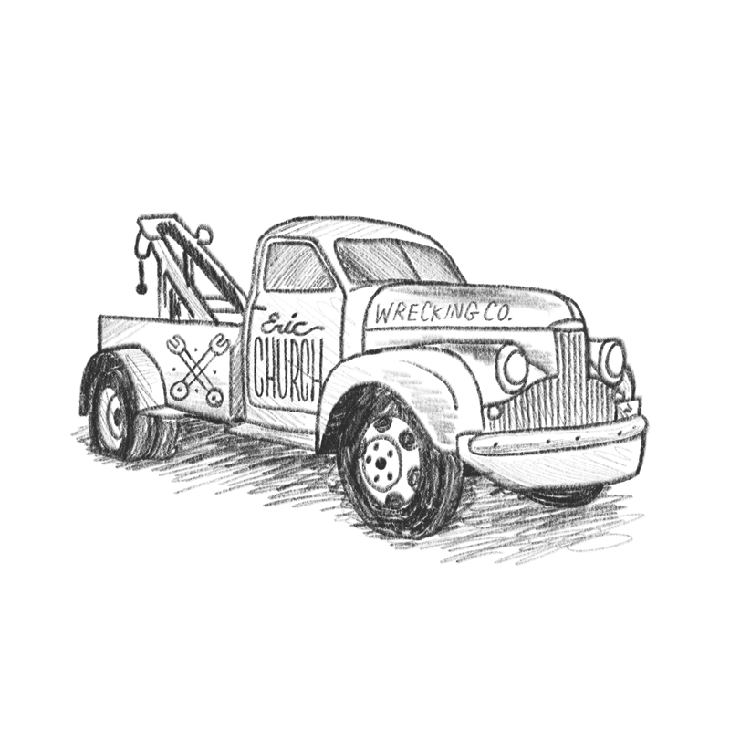 similar to last time - but with an old tow truck. This could look great illustrated in a splotchy hand-inked style similar to the example you sent over. Maybe it has weeds growing up around it like its been parked in the backyard for awhile? It could also be cool to pull the 'logo' off the door and print that on the front pocket of a tee, and have the big truck illustration on the back.