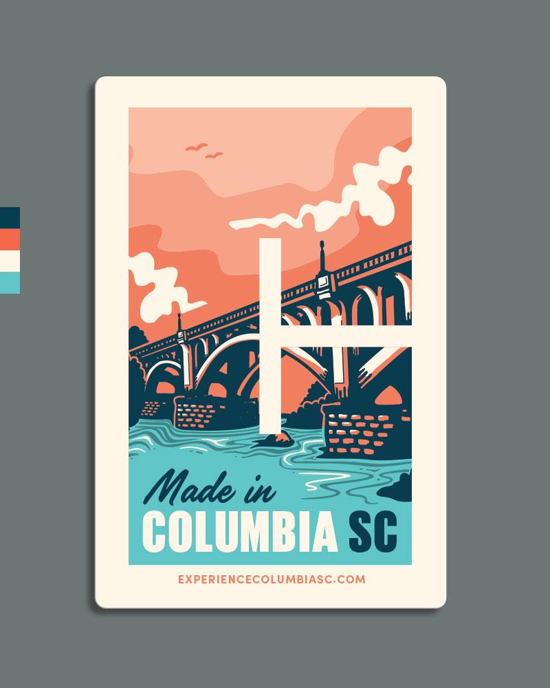 "5. This option uses the Columbia ""C"" frame to encase the bridge scene."
