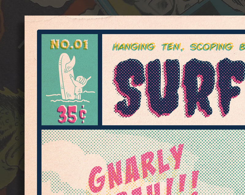 "3. You can see in the close ups that we utilized some old printing effects to heighten the vintage comic feel. Note: the slight off-registration and of large halftones. Some of the forced off-registation creates overlays (seen in the ""35c"" , ""No.01"" and the ""Hanging Ten"") this may or may not be an option with your printer."
