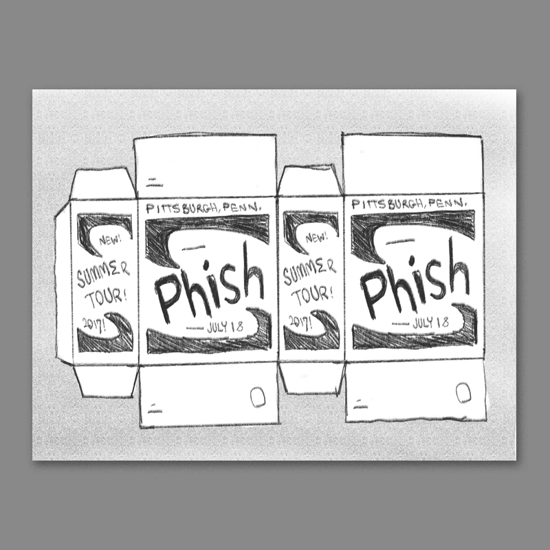 Another variation on the brillo box idea - this would be an 'interactive' poster in which you could actually cut it up and construct a real three dimensional Phish box.