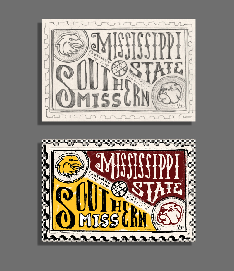 "This horizontal sketch allows for the long school names ""Mississippi"" and ""Southern"" to be displayed big and prominent. The school mascots appear in their respective corners. Some color was added to this sketch just to see how the colors could be incorporated."