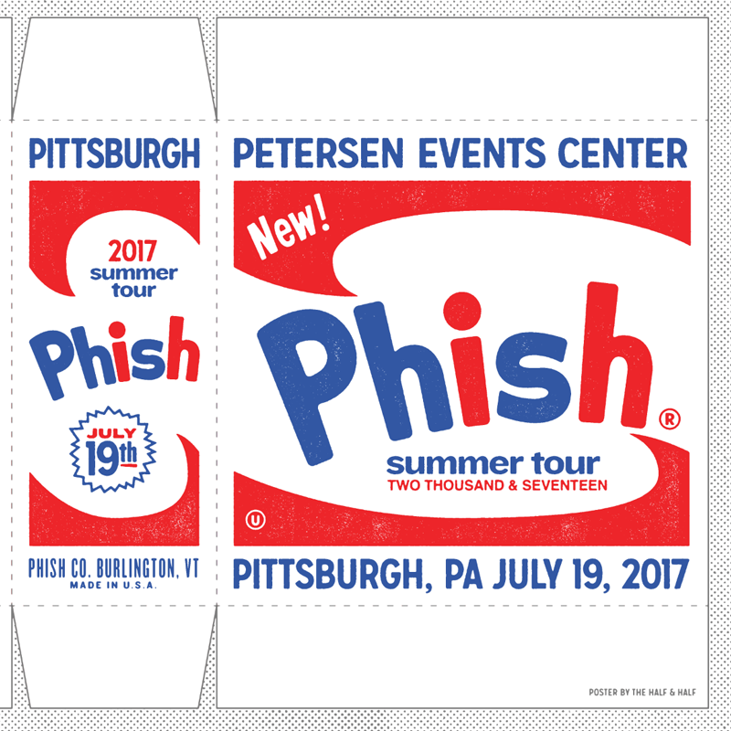 the 'PHISH CO. BURLTINGTON, VT' type is a reference to where the manufacturers info is on the  original warhol boxes.