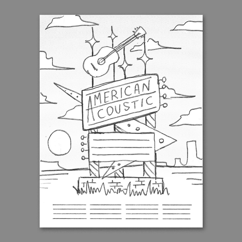 inspired by classic american roadside signage - the band names could be in the marquee at the bottom, I think this one could be really fun to illustrate.