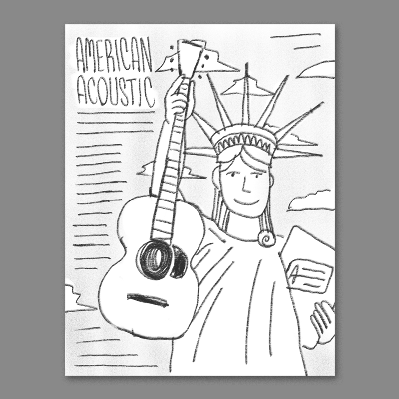 lady liberty holding up a guitar instead of torch