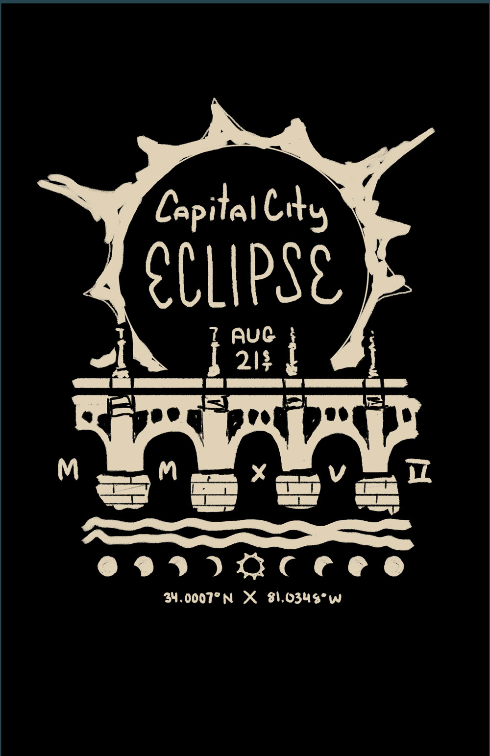 "2. This on features the well known Gervais St bridge. The idea would be to have the total eclipse atop the bridge with ""Capital City Eclipse"" in an eye-catching typestyle."