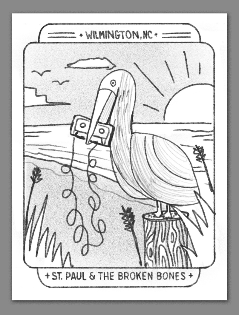 A breezy summery beach scene featuring a pelican holding a casette tape in its beak. even birds like to jam to st paul.
