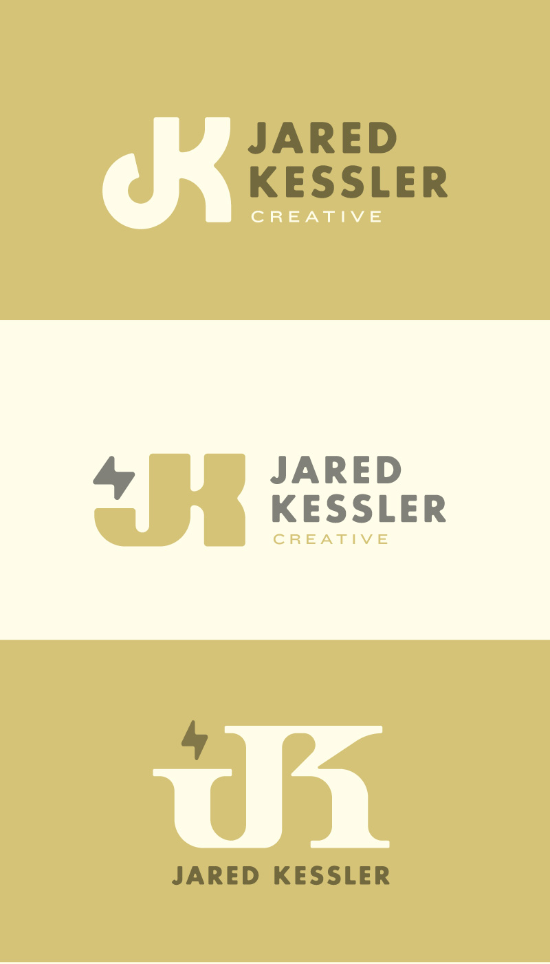 "1a. Top. I love the simplicity of this one, I paired it with a ""softened"" Futura Bold (no hard corners). And threw an extended secondary font in for ""creative"".  1b. Middle. This is basically a fatter version of the one before it. But the leg of the J is straightened to allow for possible secondary icons, in this case a stylized bolt (which you will see more of farther down).  1c. Bottom. This version has extreme serifs and a straight arm on the K. This was an attempt to go 180 from the simple versions above, I also like to pair sans and serifed type."