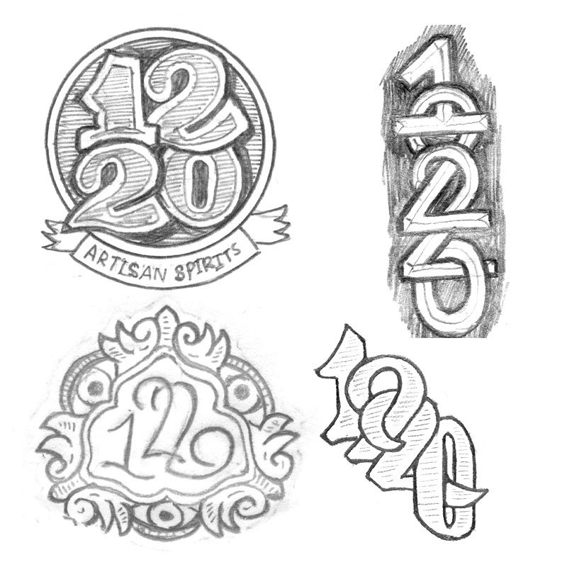 2e. quick sketches of 1220 that could be used in conjunction with a main logo. For example on the back of a label or on a bottle neck closure or atop a cork?