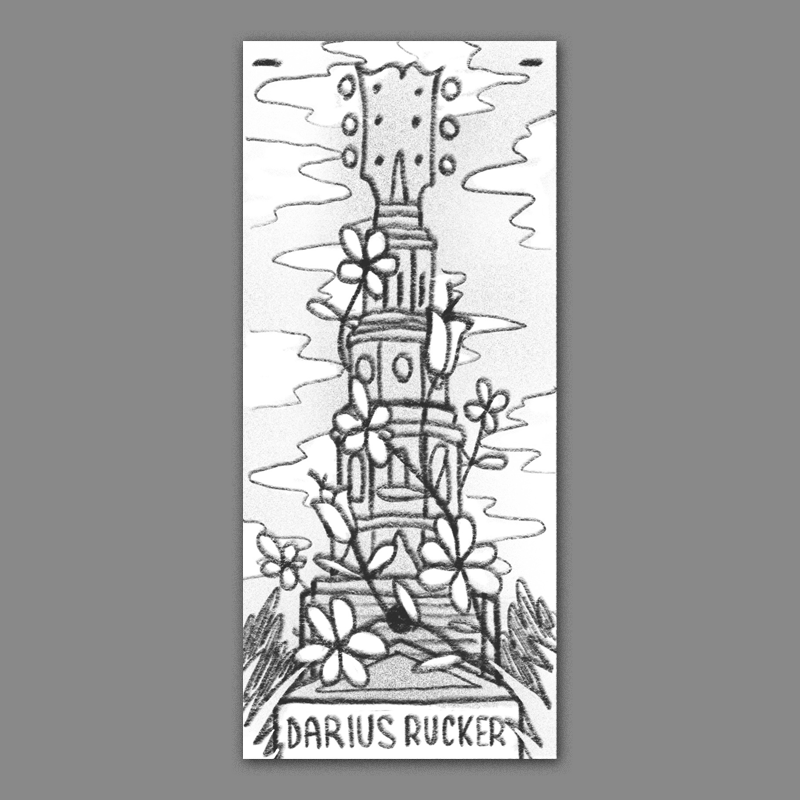 A take on all of the famous churchtowers in the holy city - this time the top is a headstock and and it has giant vintage inspired flowers wrapping around it. I think a tall&skinny format could make for a really interesting piece.