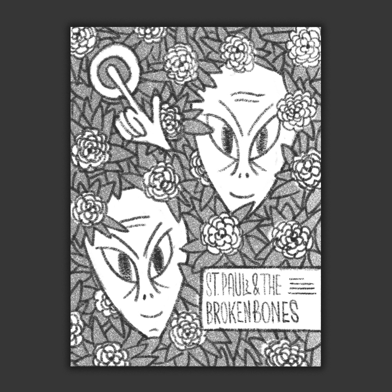 Two aliens hiding out in a Camellia bush, kind of a more pattern based idea inspired a bit by the classic  stanley mouse dead image . I think this direction could be cool to try illustrated in a looser, hand-drawn style kind of like this  amos lee poster we did a few months back .