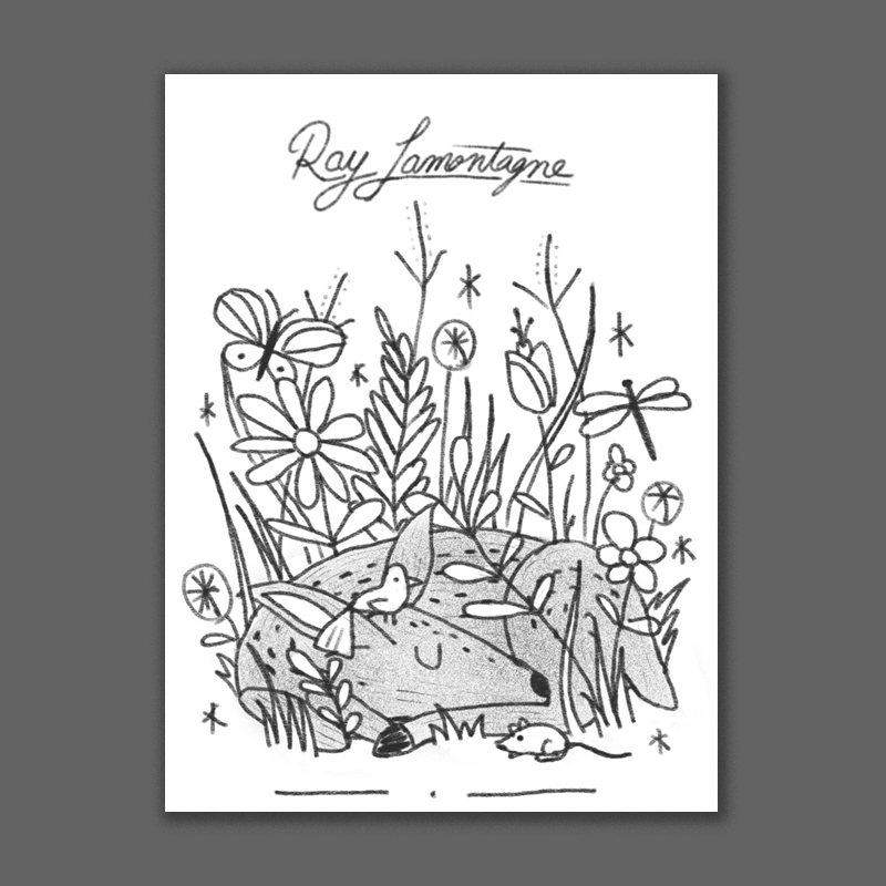 Another nature-inspired take. A nice serene little deer sleeping among flowers and insects and other critters. This could be really cool in a vintage childrens book kind of illustration style with some splotchy lines and dry brush strokes.