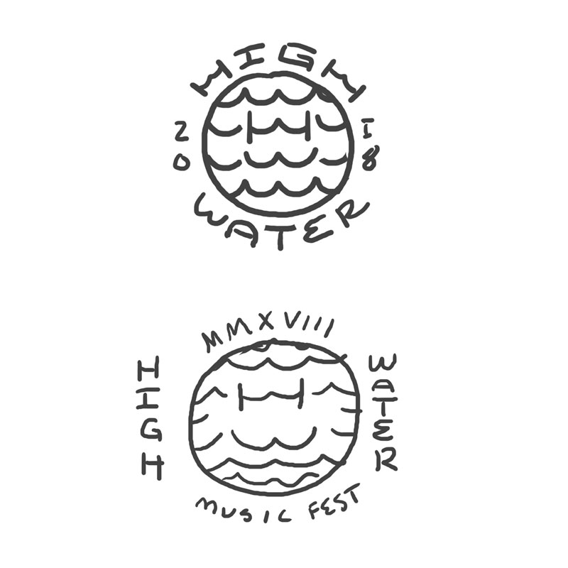 Wave Monograms that could be utilized for a hat graphic and small on shirt front (or back), accompanied by the graphic below.