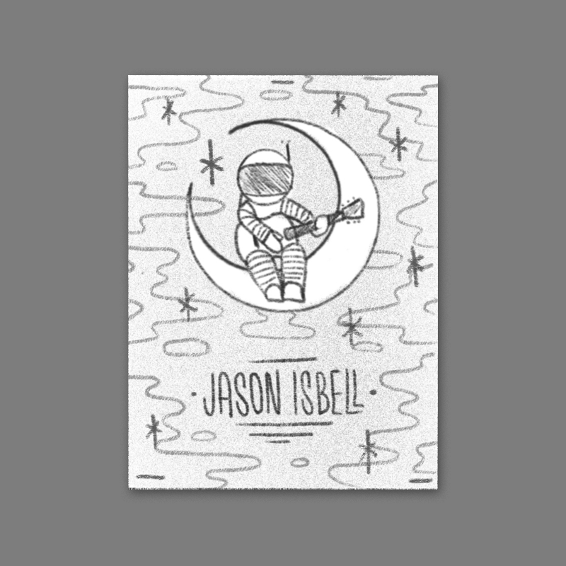An astronaut strumming a guitar floating in space sitting on a crescent moon. I think this idea would work really well in a hand-drawn style like the Brooklyn poster we did earlier this year.