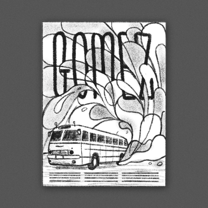 A vintage-styled tour bus with swirling, psychedelic blobs of color and texture trailing behind it. The band name would be nice and large up top and woven in and out of the bright abstract shapes.