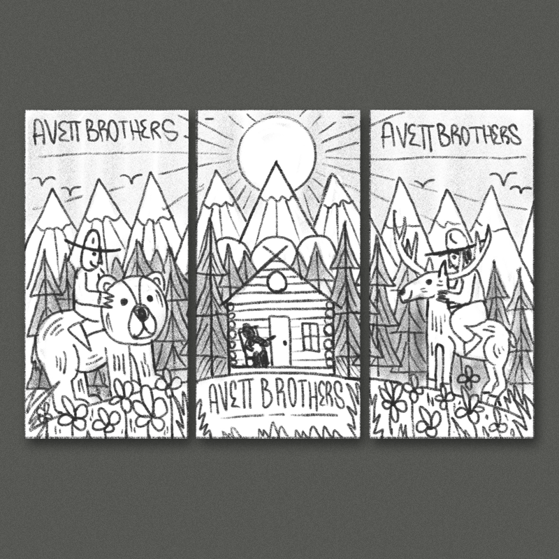 This direction would be more of a continuous image/landscape concept. In the center we have a simple rustic cabin with a figure playing guitar on the porch - On either side a couple guys are riding up on a bear and an elk, with some nice dense foliage surrounding everything. I think a more geometric illustration style could be really cool here, something sort of vintage-inspired.
