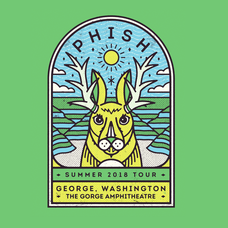Here's the Gorge art mocked up as a 4 color print on a green shirt - I wasn't sure if you guys had a preference for shirt colors but thought green would work well with The Gorge. It could be cool to do a different color shirt for each date...
