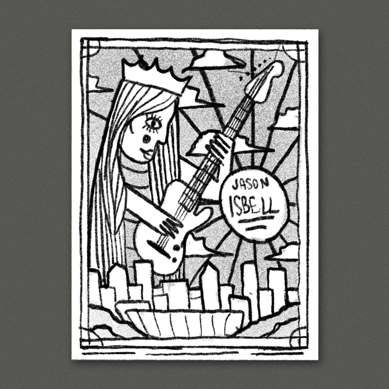Riffing off Charlotte's nickname 'the queen city'. A guitar queen shredding a telecaster looming over the charlotte skyline. I think this could be really cool in a bold stained-glass style inspired by the live from they ryman album art.