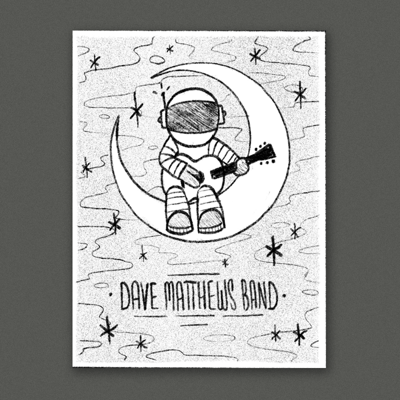 An astronaut sitting on the moon strumming a guitar. A cool spacey background fills out the rest with some simple and clean type at the bottom.
