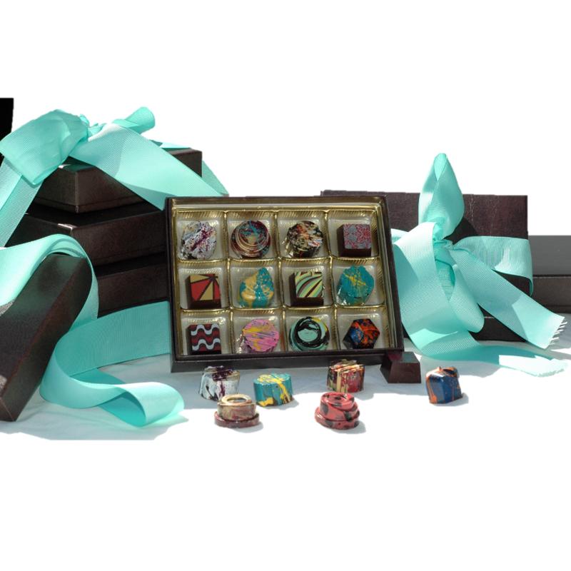 fancy chocolates in a custom h&h box