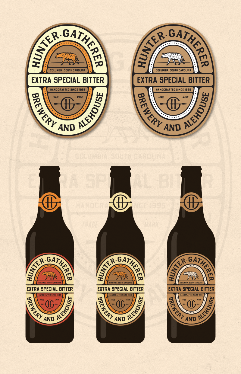 Label Explorations:  Inspired by the visual reference we sent in the strategy doc. Here we combine the previous elements into a classic badge-style label. This just gives you an idea of how everything could work together and be applied to packaging. This could be expanded out into an entire system for the whole line of HG products.