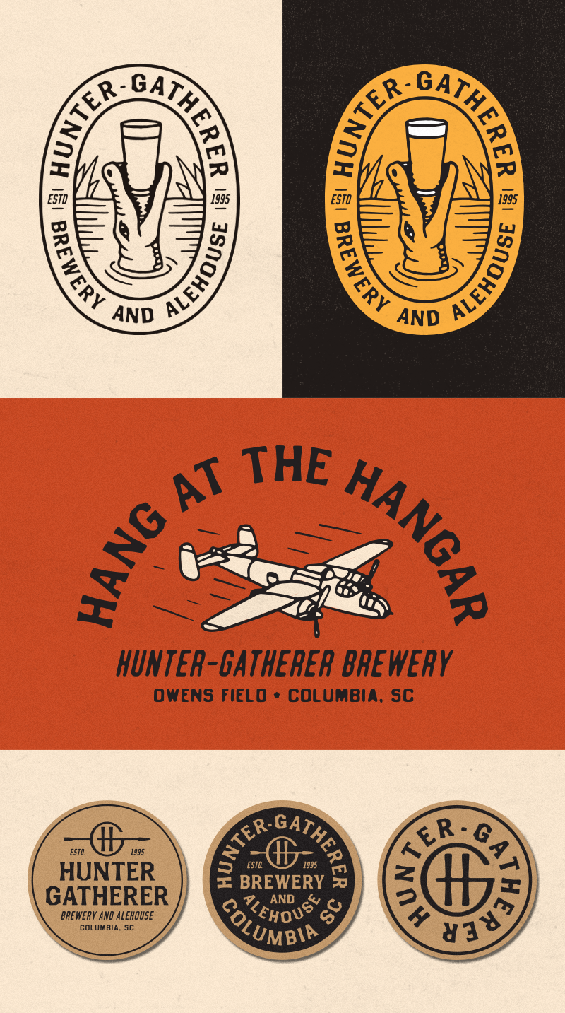 TOP:  Having some fun here with more local wildlife imagery. A gator is a nod to the local rivers and swamps.   MIDDLE:  Getting into the more hangar-specific aviation imagery. The plane is a B-25, the same model that was occupying the hangar before you guys. This little badge would be perfect for merchandise - shirts, pint glasses, etc…   BOTTOM:  Coaster mock-ups. Keeping it really simple with black ink on some thick kraft paper coasters.