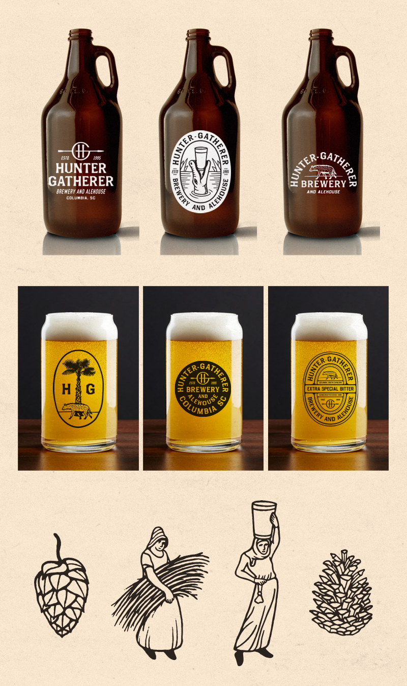 TOP:  Growler concepts   MIDDLE:  Pint glasses. I really dig these can-style glasses, something a little different than the standard.   BOTTOM:  Some more supporting illustrations and style explorations. The gatherer figures are based on medieval art. LIttle spot illustrations like this can be great tucked into menus, ads, labels, etc…