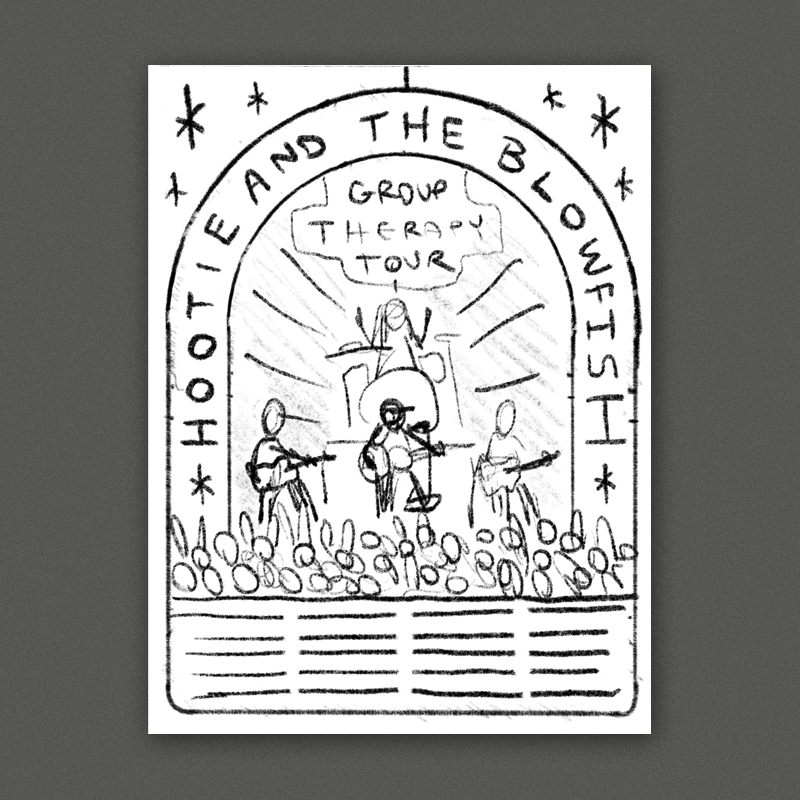 A live show scene with a simplified graphic illustration of the band playing in front of big crowd (inspired by the crowd on the flyer you sent over).