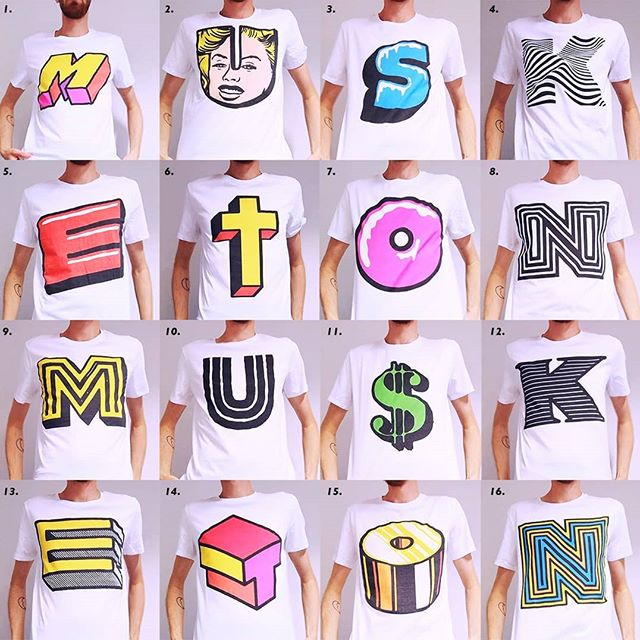 This is probably easier! Which one is your favourite? Let me know in a comment. Just comment the number you see in the top left corners. 32 different letters printed on shirts! Swipe ⬅️⬅️⬅️ to see the second image with shirts!