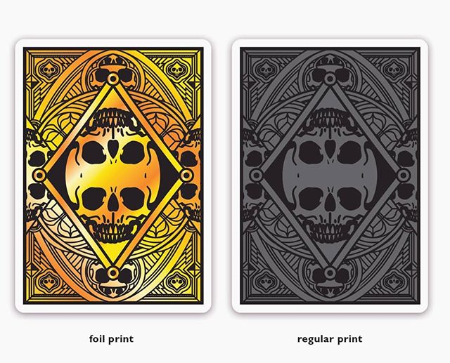 The back design for my Kickstarter card deck GRAVEYARD! Can't figure out which finish is best. Gold foil print or regular print? Which one is your favourite? Let me know in the comments please! Thanks.  You can still support the campaign on Kickstarter via the link in my bio! Almost 100% funded!  #carddeck #cardgame #playingcards #playingarts