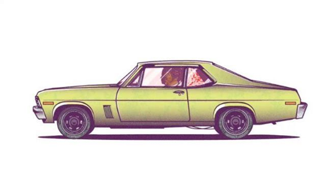 74 Chevy Nova from Pulp Fiction. From blank canvas to finished illustration. Who's a Pulp Fiction fan?