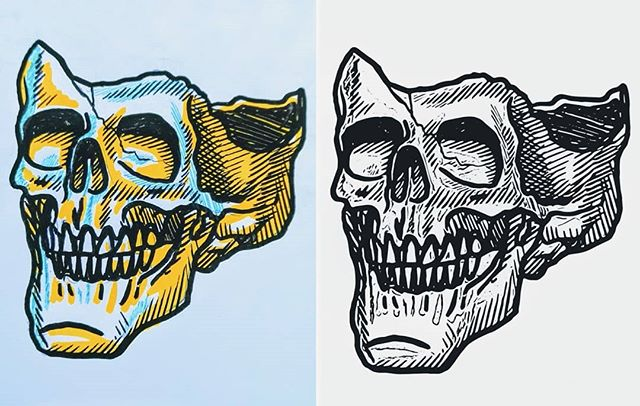 From sketch to vector on my phone using the Adobe Capture app. Which one do you like more? The sketch on the left or the vector on the right? Transform all your sketches into a vector file using #adobecapture. Download it in the Play or App store. #notsponsored #just #love #this #app #so #much