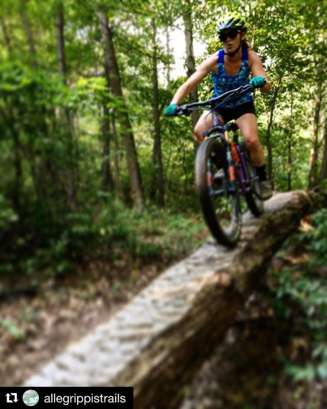 "Helena Kotala from Dirt Rag Magazine putting our ""Primed"" full-suspension steel boost mountain bike through the testing ringer on the Allegrippis Trails of Raystown Lake, PA. Thanks to Evan Gross from Dirt Rag for the sweet shot!"