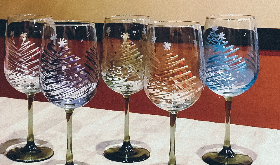 Christmas trees wine glass painting party hartland winery for Wine paint party