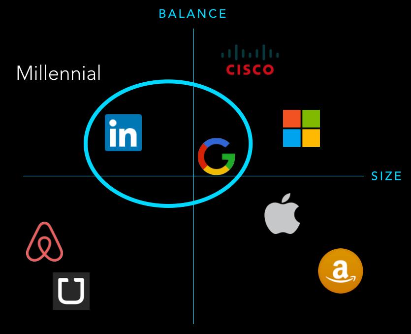 Millennial companies: LinkedIn + Google
