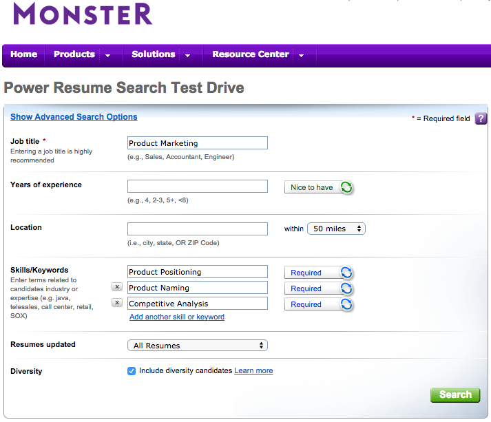 Monster's Resume Screening Software