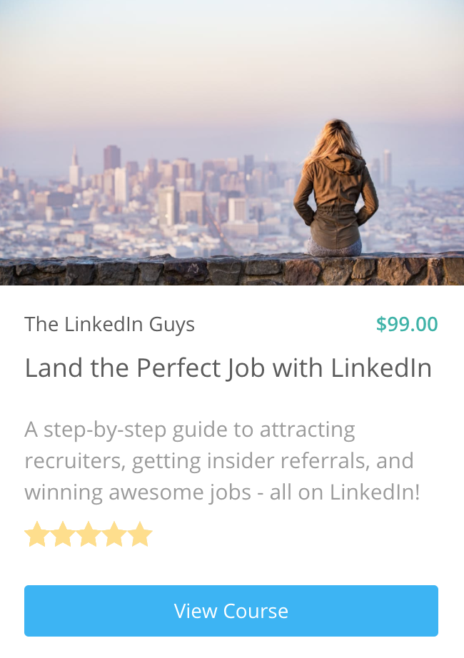 Want to master LinkedIn? - Learn all the LinkedIn techniques that expert job-seekers use: From how to make sure your profile shows up at the top of searches to how to get insider company information before your interview.Get the first LinkedIn course created by actual LinkedIn employees!