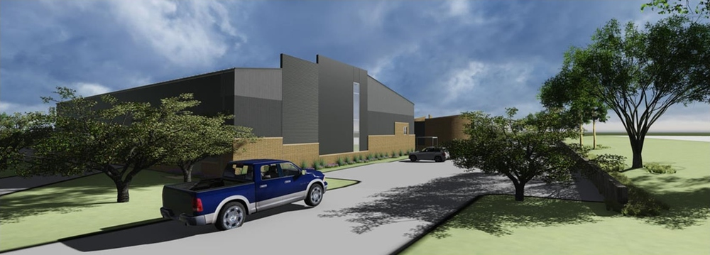 Rendering of West parking and new gymnasium (northwest looking southeast)