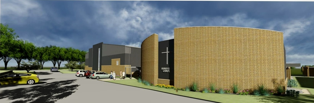 Rendering of west parking and secondary chapel (the Bradford Chapel (southwest looking northeast)