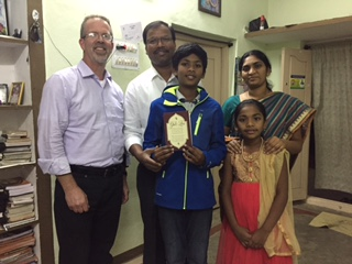With Solomon and family-Johanine holding Christmas card from Divena