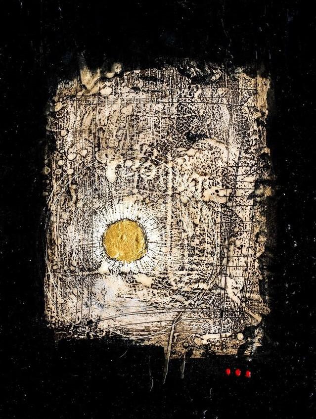 Jordi Forniés, 'Sound I',encaustic, resin, oil, enamel & gold leaf on board (60x45 cm