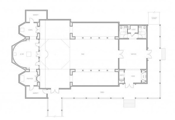 Approx. 4600 sq. ft floor plan accommodates at least 250 worshippers