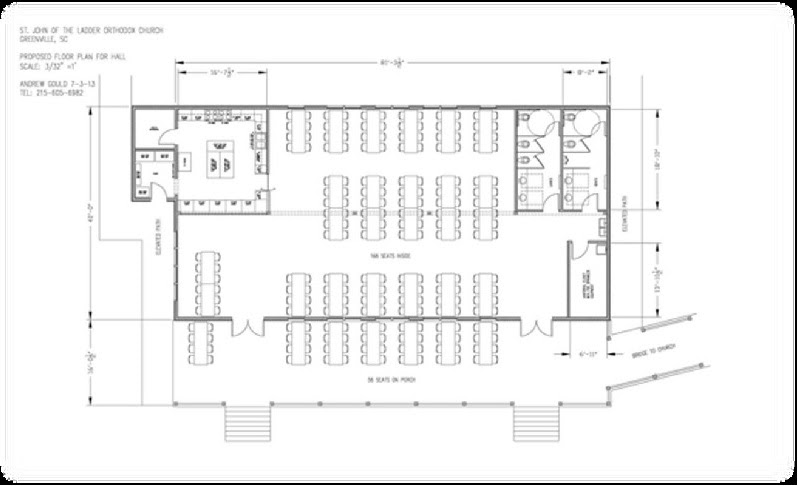 Floor plan of the proposed 3200 sq. ft parish hall. Indoor seating for 168, outdoor seating for 56, total seating 224