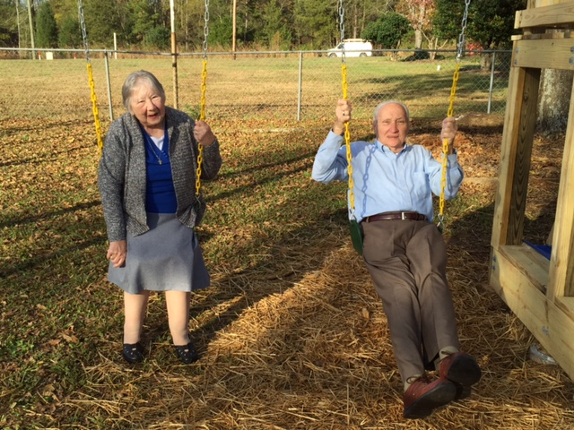 The Bocks enjoying the new swings!