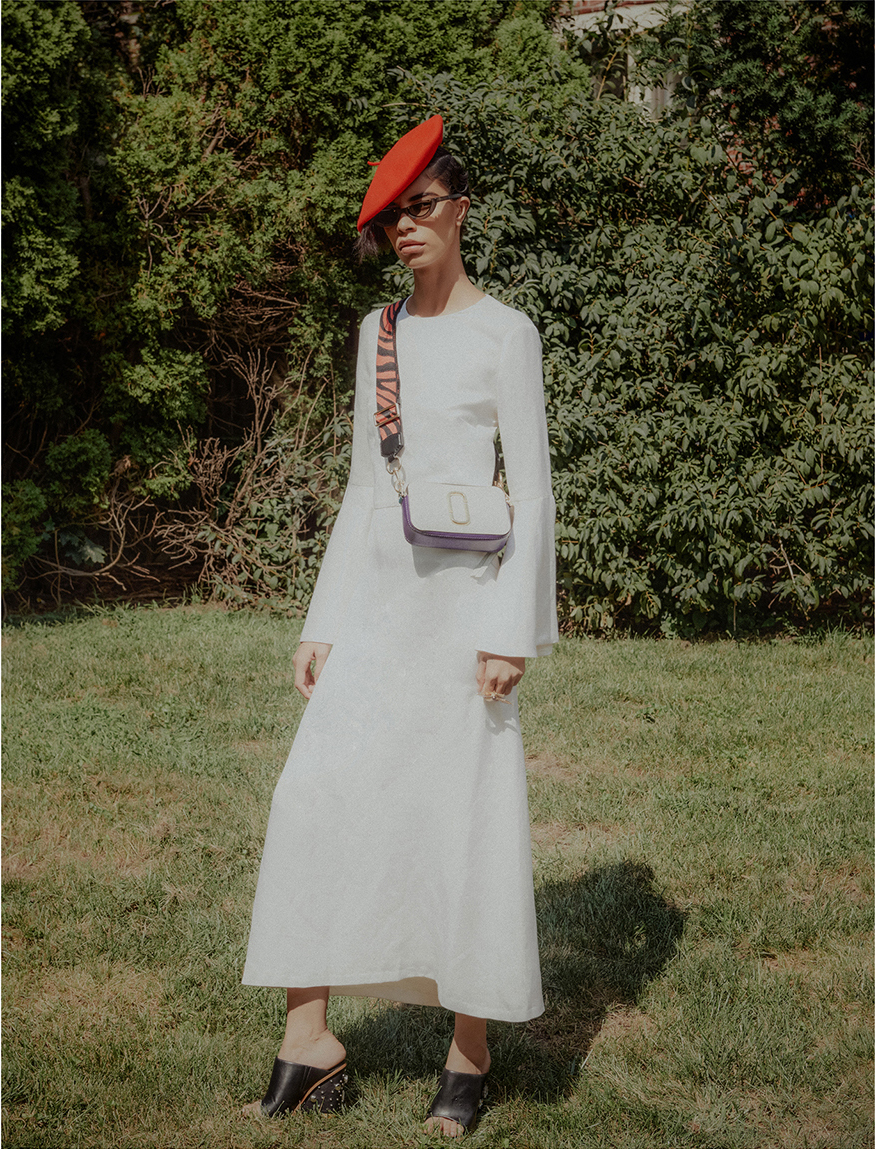 Dress by Amur, Hat by Kangol, Sunglasses by Pawaka, Bag by Marc Jacobs, Shoes by Tibi