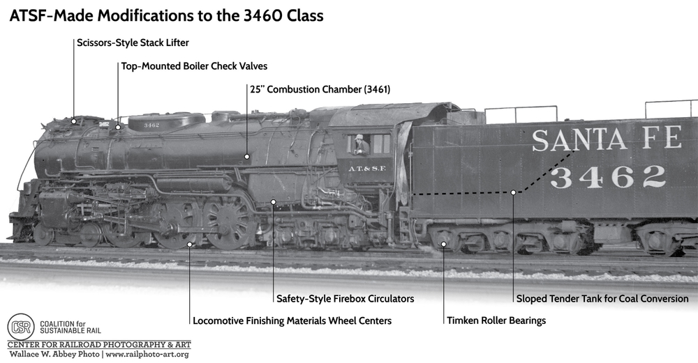 This image diagrams modifications made to the 3460 Class locomotives by the ATSF. Click to enlarge.