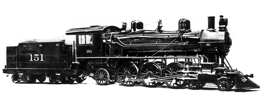 This builders photograph of sister locomotive 151 shows how the engine appeared 110 years ago.