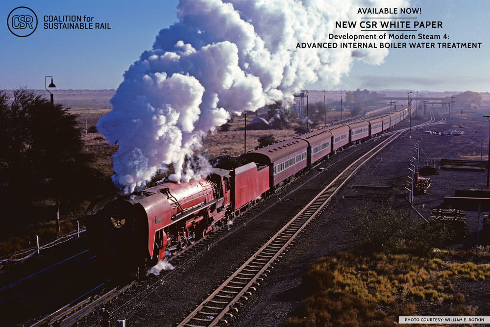 Engines, both big and small, have used Advanced Internal Boiler Water Treatment, including South African Railways 4-8-4 No. 3450, shown here pulling a train in 1985 in a stunning photograph taken by and courtesy of William E. Botkin.