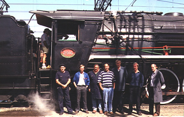 This 1991 photograph shows Girdlestone (second from left) shown with other crew involved with conversion of SAR 15F Class 4-8-2 No. 2916 from coal to oil firing. Photo: P. Girdlestone courtesy of H. Odom